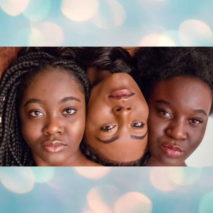 Trio of lovely young ladies of african origin