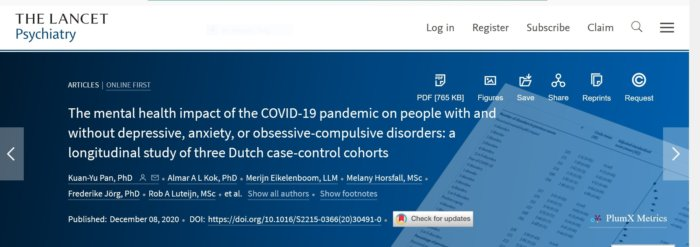 Lancet Psychiatry Journal - Well and Healthy During A Pandemic