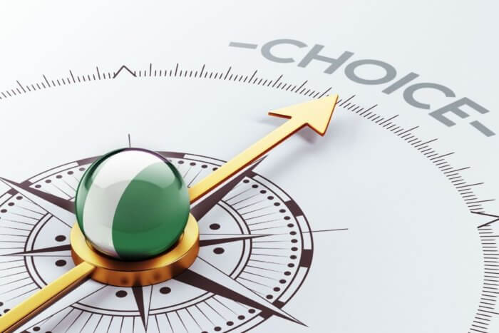 Compass with bright green dome and golden needle pointing to the word CHOICE - image for contraception in Nigeria