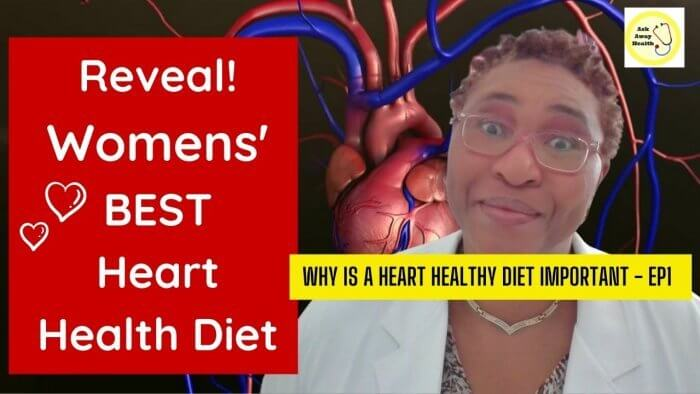 Heart Healthy Diet - Image of a female doctor wearing a white coat on a background image of the heart and blood vessels.